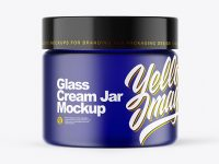 Frosted Blue Glass Cream Jar Mockup