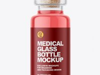 Glass Medical Bottle with Cork Mockup