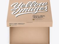 Opened Pizza Kraft Box Mockup - Top View