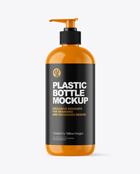 Glossy Plastic Bottle with Pump Mockup