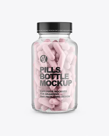 Clear Glass Bottle With Pills Mockup