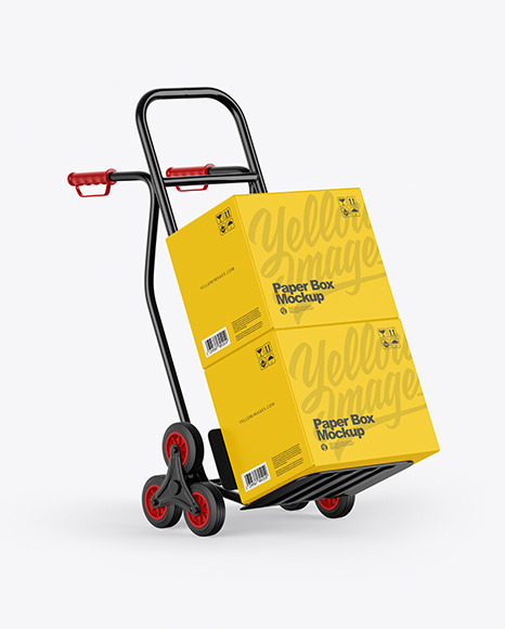 Hand Truck With Boxes Mockup