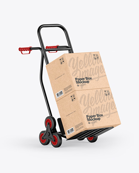 Hand Truck With Kraft Boxes Mockup