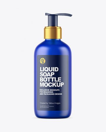 Frosted Blue Liquid Soap Bottle with Pump Mockup