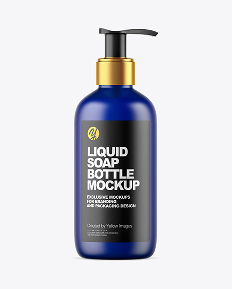 Frosted Dark Blue Liquid Soap Bottle with Pump Mockup