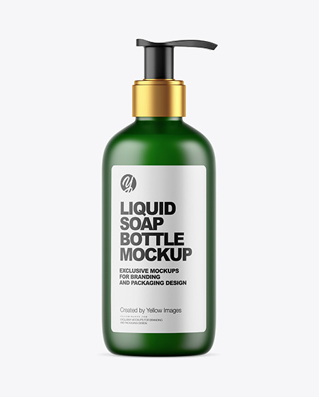Frosted Dark Green Liquid Soap Bottle with Pump Mockup