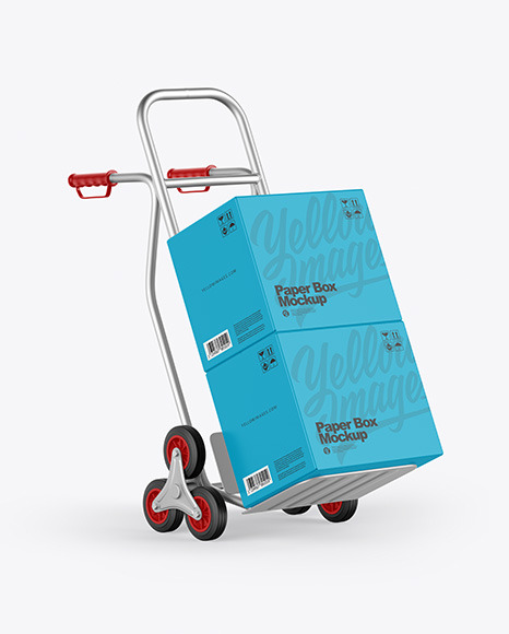 Metallic Hand Truck With Boxes Mockup