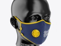 Anti-Pollution Face Mask with Exhalation Valve - Front Half-Side View