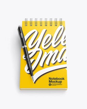 Matte Notebook Mockup With Pen