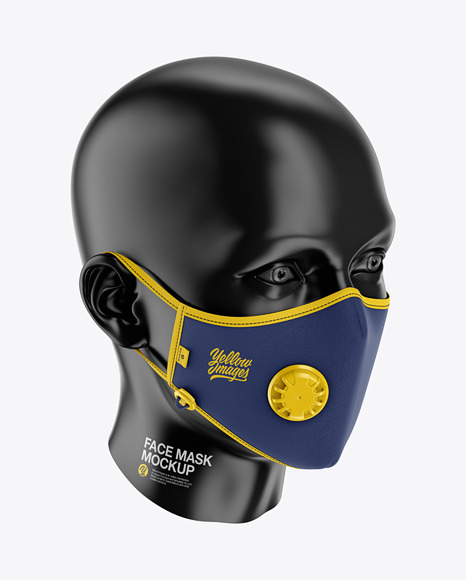 Anti-Pollution Face Mask with Exhalation Valve - Front Half-Side View (High Angle)