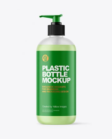Frosted Liquid Soap Bottle with Pupm Mockup