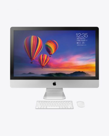 iMac Pro Mockup with Keyboard and Mouse - Front View