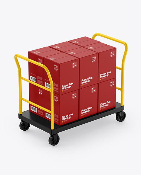 Warehouse Trolley With Boxes Mockup