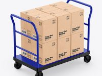 Warehouse Trolley With Kraft Boxes Mockup