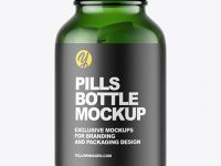 Green Glass Pills Bottle Mockup