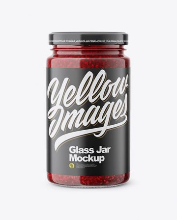Glass Jar with Raspberry Jam Mockup