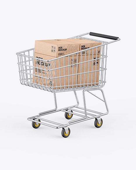 Shopping Cart W/ Kraft Boxes Mockup