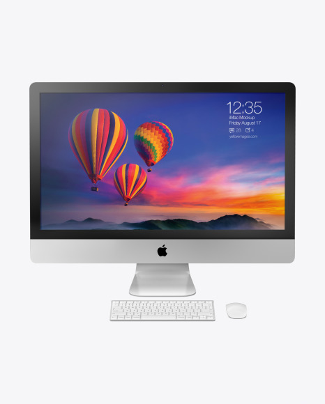iMac with Keyboard and Mouse - Mockup