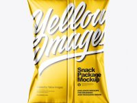 Metallic Snack Package Mockup - Back View