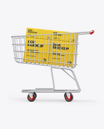Shopping Cart W/ Paper Boxes Mockup