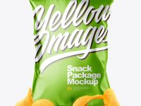 Metallic Snack Package with Riffled Potato Chips Mockup - Front View