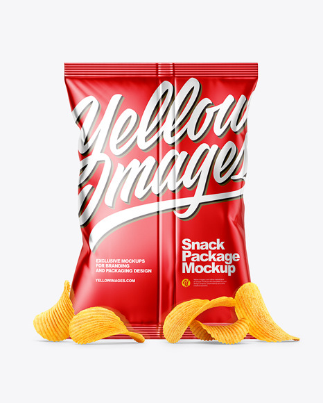 Metallic Snack Package with Riffled Potato Chips Mockup - Back View