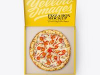 Opened Matte Pizza Box Mockup