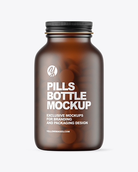 Frosted Amber Glass Pills Bottle Mockup