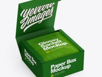 Paper Box with Glossy Sachet Mockup