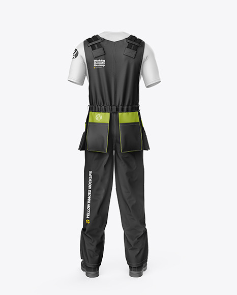 Working Overalls Mockup – Back View