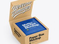 Kraft Box with Matte Sachet Mockup