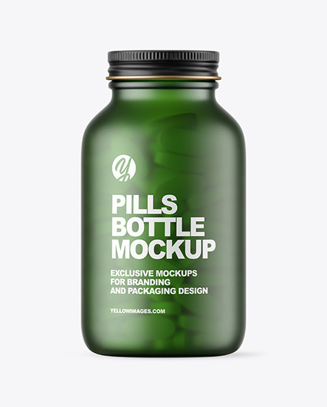 Frosted Green Glass Pills Bottle Mockup