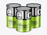 Metallic Oil Barrels Mockup