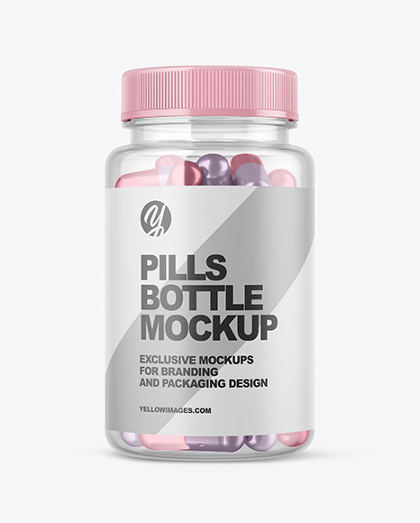 Clear Bottle with Metallized Pills Mockup