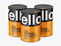Glossy Oil Barrel Mockup