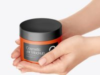 Cosmetic Jar in Hands Mockup