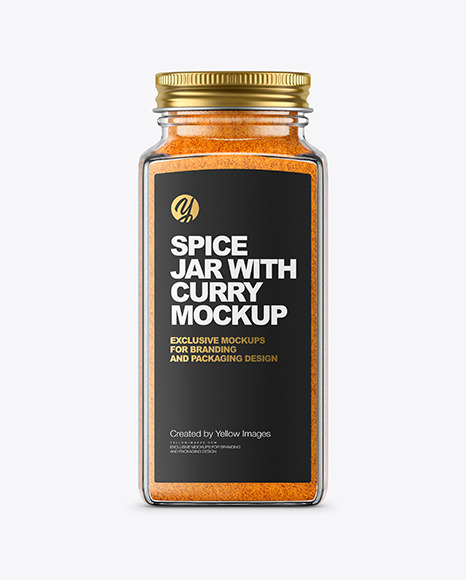 Spice Jar with Curry Mockup
