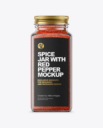 Spice Jar with Red Pepper Mockup