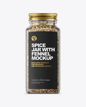 Spice Jar with Fennel Mockup