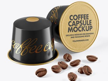 Two Coffee Capsules with Coffee Beans Mockup