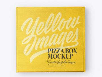Closed Cardboard Pizza Box Mockup