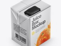 Metallic Juice Carton Package Mockup - Half Side View