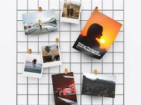 Grid w/ Postcards and Photos Mockup