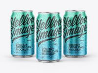 Three Matte Metallic Cans Mockup