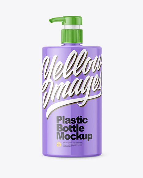 Glossy Plastic Bottle with Pump Mockup - Front View