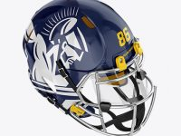 American Football Helmet Mockup - Top HalfSide View