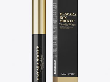 Mascara Tube With Box Mockup