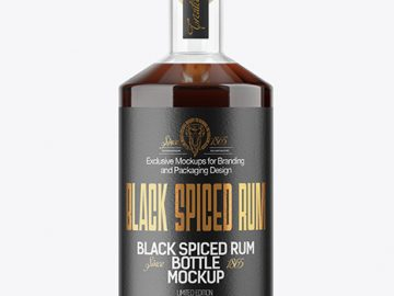 Black Rum Bottle Mockup