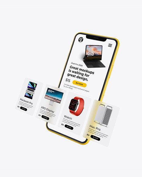 Clay iPhone 11 with Cards Mockup