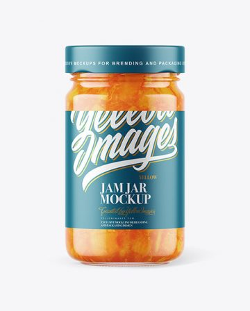Clear Glass Jar with Apricot Jam Mockup